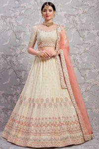 Georette Heavy Embroidered Cream Wedding Lehenga With Blouse