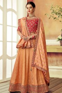 Peach Color Brocade Lehenga Choli