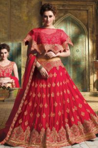 Red Net Cape Pattern Lehenga Choli