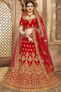 Silk Wedding Bridal Red Lehenga Choli
