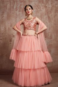 Layered Lehenga In Peach Color