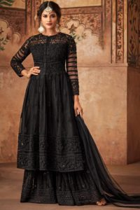 Black Color Embroiderd Sharara Suit