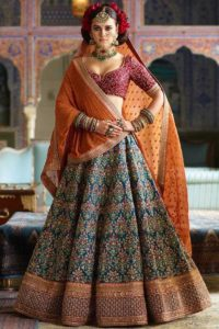 Blue mulberry silk bridal lehenga choli