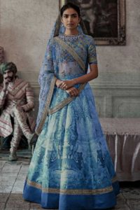 Chennai Silk Designer Lehenga Choli Printed Work Blue Color on Fabja
