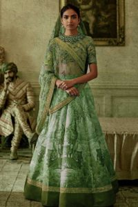 Green Color Chennai Silk Printed Lehenga Choli on Fabja