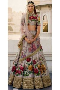 Floral Digital Printed Fine Art Silk Bridal Lehenga Choli