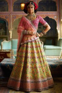 Heavy Embroidery Mulberry Silk Yellow Sabyasachi Lehenga Choli For Wedding Season