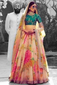 Khadi Organza Lehenga Choli Cream Color