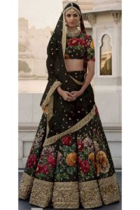 Sabyasachi Collection Black Traditional Lehenga Choli