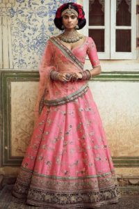 Party Wear Thai Silk Pink Lehenga Choli With Net Dupatta