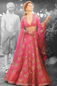 Pink Thai Silk Heavy Lehenga Choli In Embroidery