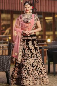Pure Velvet Maroon Wedding Lehenga Choli