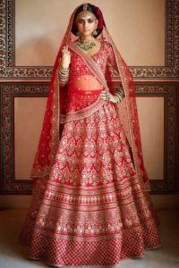 Red Mulberry Silk Sabyasachi Lehenga Designs For Brides