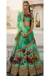 Sabyasachi Mukherjee Green Color Fine Art Silk Bridal Lehenga