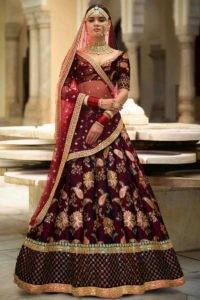Taffeta Silk Maroon Embroidered Bridal Lehenga