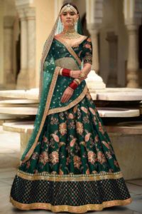 Taffeta Silk Wedding Reception Lehenga Green Color