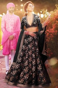 Thai Silk Party Wear Lehenga Black Color