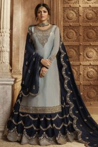 Grey Satin Georgette Indo Western Suit