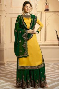 Embroidery Mustard Georgette Satin Palazzo Suit