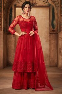 Red Color Embroiderd Sharara Suit