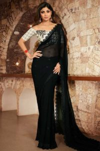 Bollywood Saree In Georgette Black Color With Checks Blouse