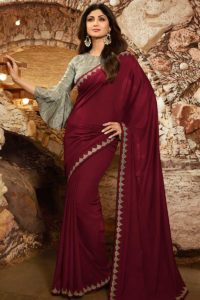 Bollywood Party Wear Saree Maroon Color Soft Silk