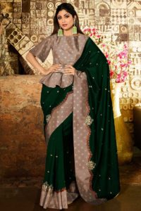 Dark Green Soft Silk New Saree Design For Women