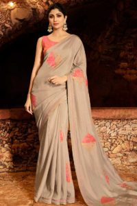Soft Silk Shilpa Shetty Saree Design In Embroidery Work