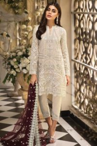 Embroidery Work Cream Color Net Pakistani Dress