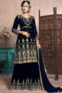 Satin Georgette Sharara Style Salwar Suit