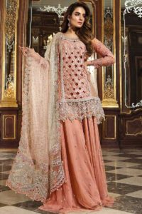 Pakistani Style Peach Heavy Net Sharara