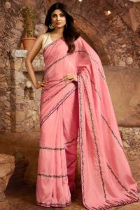 Pink Slub Silk Fabric Wedding Saree Collection