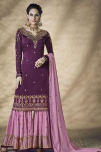 Purple Satin Georgette Sharara Salwar Suit