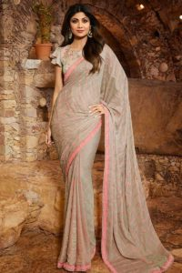 Grey Marvelous Shilpa Shetty Saree Designs