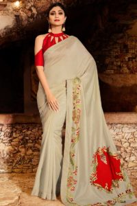 Soft Silk Ladies Saree Pale Grey Color With Art Silk Blouse