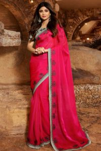 Stylish Look PartyWear Saree In satin Georgette