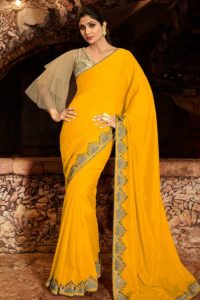 Tv Actress PartyWear Yellow Color Saree With Beige Net Blouse