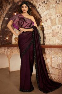 Tv Actress Shilpa Shetty Saree Dark Wine
