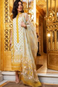 Yellow Embroidered Straight Suits