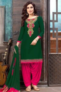 Cotton Satin Patiala Dress Dark Green With Stone Work