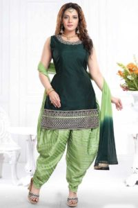Chanderi Silk Punjabi Dress With Chiffon Dupatta