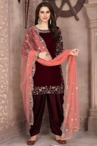 Maroon Color Velvet Patiala Salwar Suit