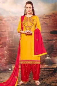 Mustard Yellow Color Cotton Silk Patiala Suit