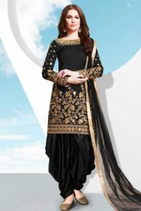 Taffeta Silk Patiala Salwar Suit Black Color