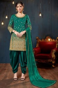 Teal Green Color Tafeta Silk Salwar Suit