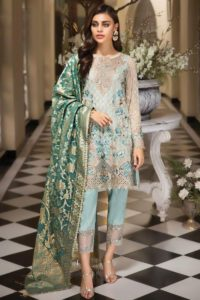 Eid Dresses Collection In Sky Blue Net