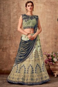 Lime Green And Blue Party Wear Lehenga Style Saree