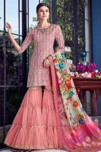 Pink Soft Silk Sharara Suit